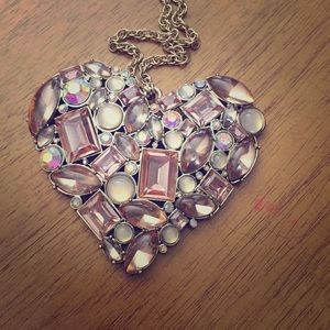 Betsey johnson large pink jeweled heart necklace